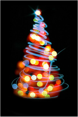 Colorful bulbs Christmas tree